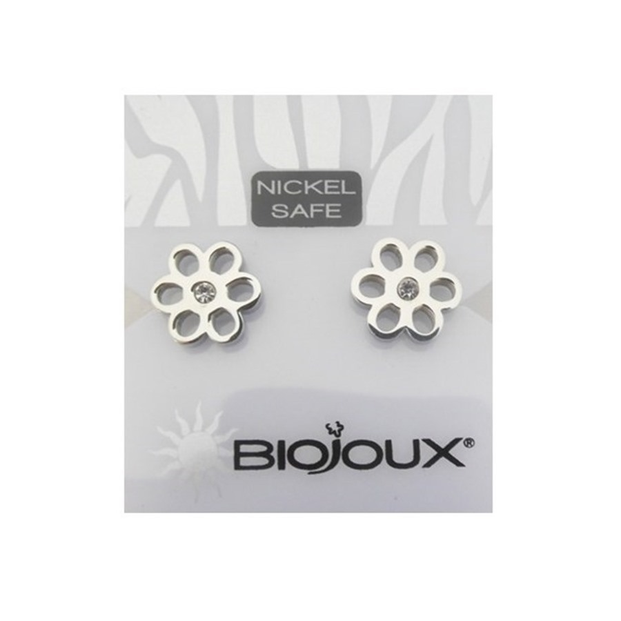 Biojoux Orecchini Metal White Crystal Flower 10MM